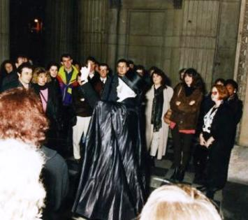 A group of people on the London Ghost Walk.
